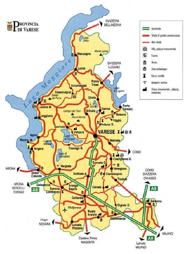 Varese Cartina.Cartina Della Provincia Di Varese